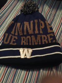 Blue and black beanie