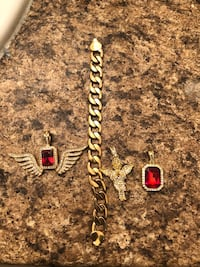 Gold plated pendents and bracelet