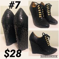pair of black leather peep toe heels North Vancouver, V7J