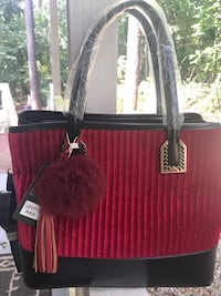 Red Ribbed Handbag  Byron, 31008