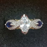 Sapphire and cz white gold plated ring