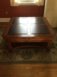 Leather top coffee table with drawer VINELAND
