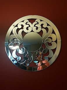 silver steel round wall decor