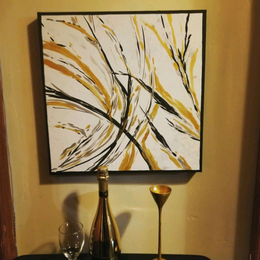 Abstract circular Gold and Silver art on canvas