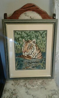 Tiger painting with rectangular black wooden framed