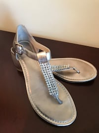 gray t-strap leather flats