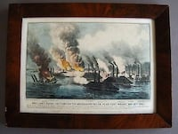 """Vintage Currier & Ives  """"Brilliant Naval Victory on the Mississippi River  Near Fort Wright, May 10th 1862"""" Chelmsford, 01824"""