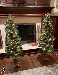2 Outdoor Lighted Christmas Porch Trees 3.5' w/Bronze Base Decoration