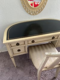 VINTAGE MAKE UP OR STUDY DESK WITH MIRROR, CHAIR, AND SMALL DRESSER