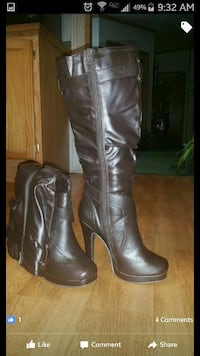pair of brown leather knee high heeled boots