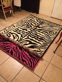 White and black zebra area rug brand new 5x7 Los Angeles, 90027
