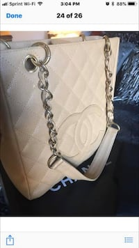 Quilted white chanel leather crossbody bag