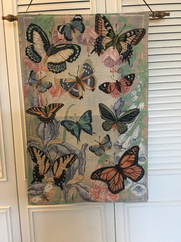 Wall decoration Needle point Butterfly tapestry to hang on the wall . Colorful Butterflies