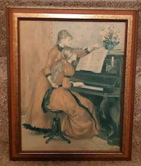 Lady At Piano - Vintage Print Framed Print (no glass) (Ref # offtovv) Newmarket