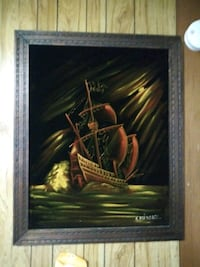 Very large silk painting of a ship Worcester, 01609