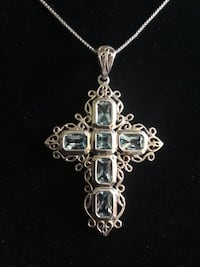 Beautiful blue topaz and sterling cross