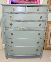 Solid Wood Mahogany highboy chest of drawers dresser blue gray Kensington
