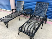 Selling a high end cast aluminum outdoor furniture, this set includes two pool chairs and small table the frames are heavy duty cast aluminum, that will never rust, the set is very good high quality ; Irving, 75061