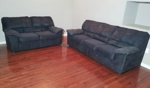 Tremendous Ashley Furniture Navy Microsuede 3 Seat Couch Loveseat Set Home Interior And Landscaping Eliaenasavecom
