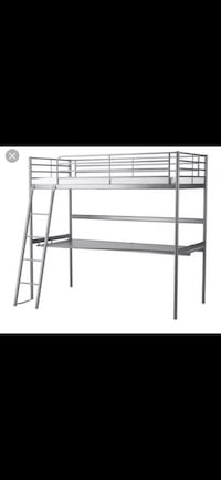 Loft bed with desk underneath! Great to free up floor space,