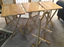 Snack tray tables and stand. Folding solid wood TV tables.