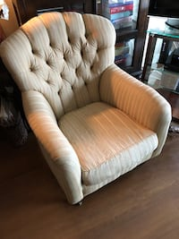 white and brown fabric sofa chair Arlington, 22201
