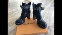 Real leather LV boots studs black size 7.5 / 38 star Chelsea Inglewood, 90301