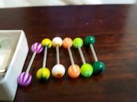 6 brand new different color tongue rings or body j 119 mi