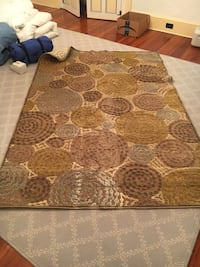 "AREA RUG~5'2"" x 7'6""~~CHENILLE BROWNS, LIME GREEN, LIGHT BLUES Point Pleasant, 08742"