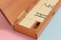 Antique domino set with wood case Alhambra