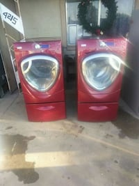 two red front-load clothes washer and dryer set Phoenix, 85019