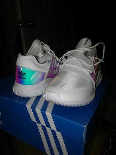white-blue-teal Adidas shoes with obx
