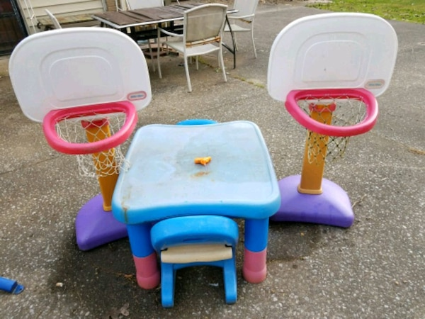 two blue and pink plastic chairs