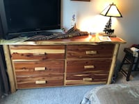 Dresser and log bed frame king size and two end tables log style all for 500 call John  [TL_HIDDEN]  Arvada, 80003