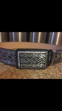 gray leather belt with silver-colored buckle Fontana, 92336