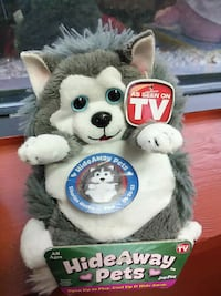 gray and white Hide Away Pets dog plush toy