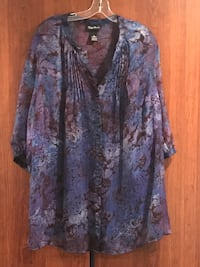 Lapis blue button-up sheer blouse plus size 22/24 Penn Hills, 15235