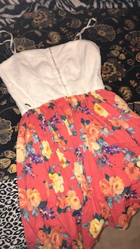women's white and pink floral dress Apache, 73006