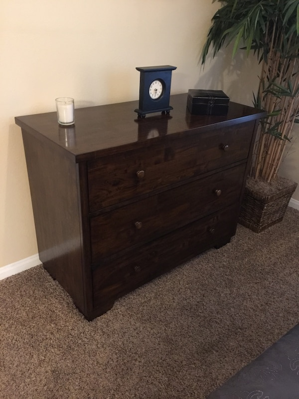 brown 3-drawer side table