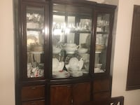 Brown wooden framed glass display cabinet 3727 km