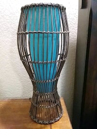 Wicker turquoise desk lamp
