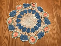 "Vintage hand crocheted doily with blue & pink flowers 12"" Fiskdale, 01518"