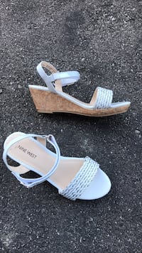 pair of white open-toe ankle strap heels Vaughan, L4K 5W4