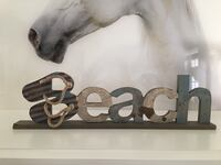Green and beige wooden Beach free standing letter