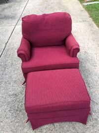 red fabric sofa chair with ottoman 378 mi