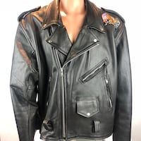 UNIK USA Vintage Black Leather Motorcycle Biker JACKET Mens Size 54 Haymarket, 20169