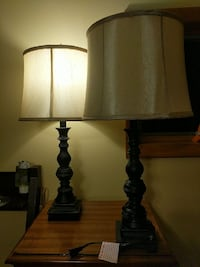 two brown wooden base table lamps Syracuse, 13215