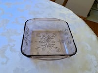 Rare vintage Oven Proof pink baking dish with embossed floral design Rockford, 61107