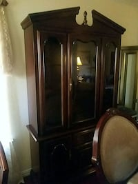 brown wooden framed glass display cabinet Grand Prairie, 75052