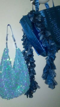 Blue sequin purse get free scarf and free blue bag 2059 mi